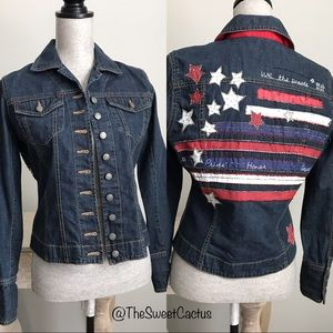 Chico's American Embroidered USA Flag Denim Jacket